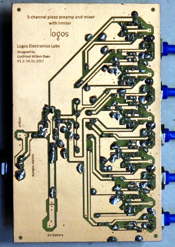 A 5-channel mixer / preamplifier for piezo disks by Godfried-Willem Raes