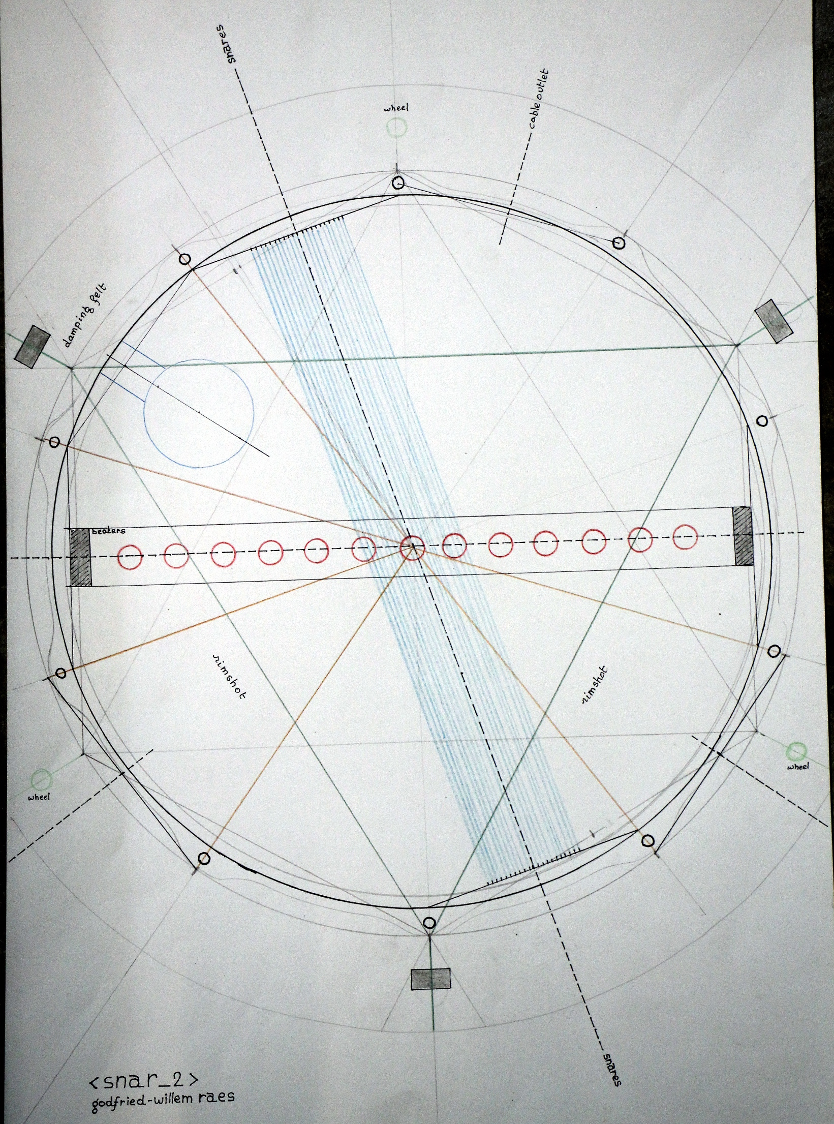 Snar 2 An Automated Snare Drum For Aphex Twin By Godfried Willem Raes Memo Board Flashing Light Circuit 02042014 Detailed Technical Drawing Finished Scale 11 The Original Is Size A2